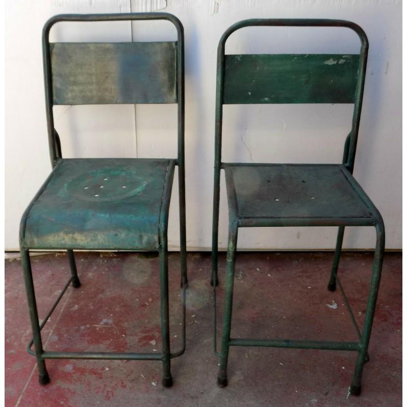 Sedie In Ferro Vintage.Sedia Vintage In Ferro Color Verde Cm 42x45x88h Seduta Industrial
