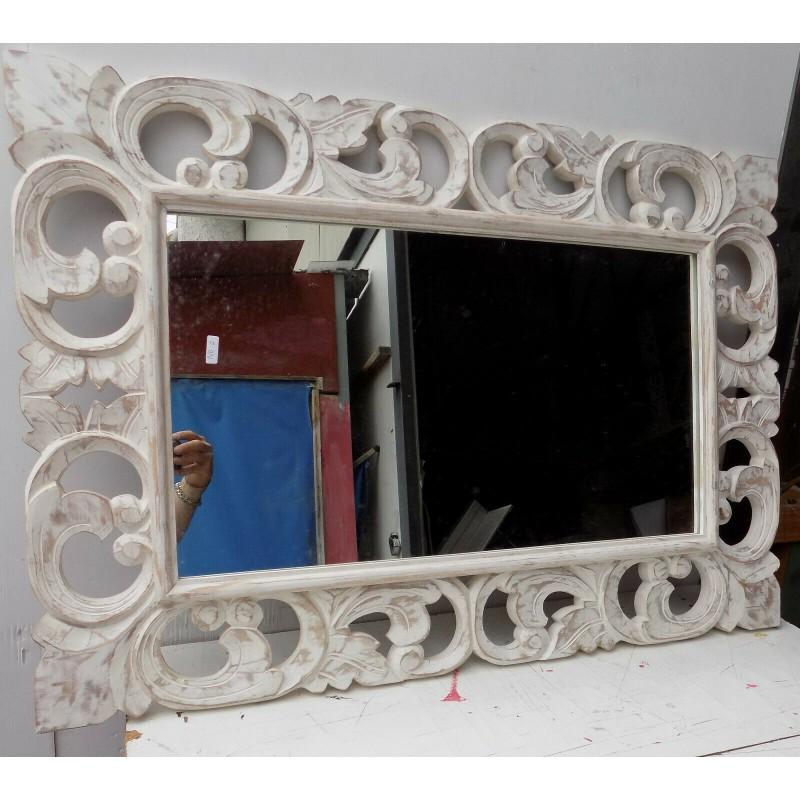 Specchio Legno Decapato.Specchio In Legno Intarsiato E Stagionato Cm100x70 Bianco Decapato Classic Model