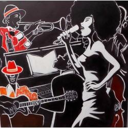 Quadro dipinto musicista...