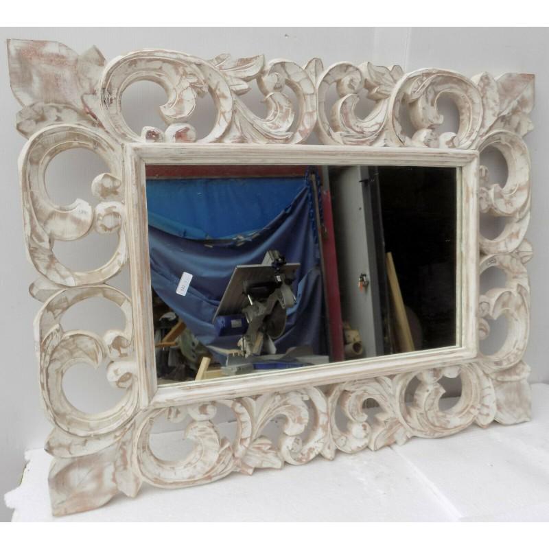 Specchio Legno Decapato.Specchio In Legno Intarsiato E Stagionato Cm 60x80 Bianco Decapato Classic Model