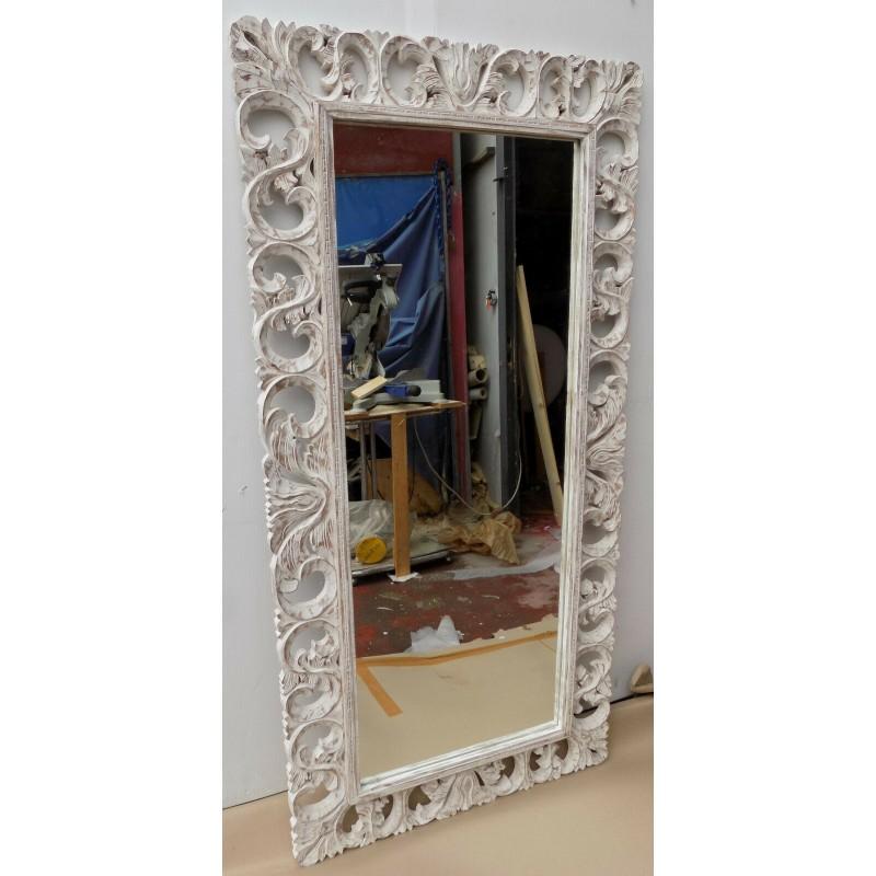Tavolo Legno Bianco Decapato.Specchio In Legno Intarsiato E Stagionato Cm 160x80 Bianco
