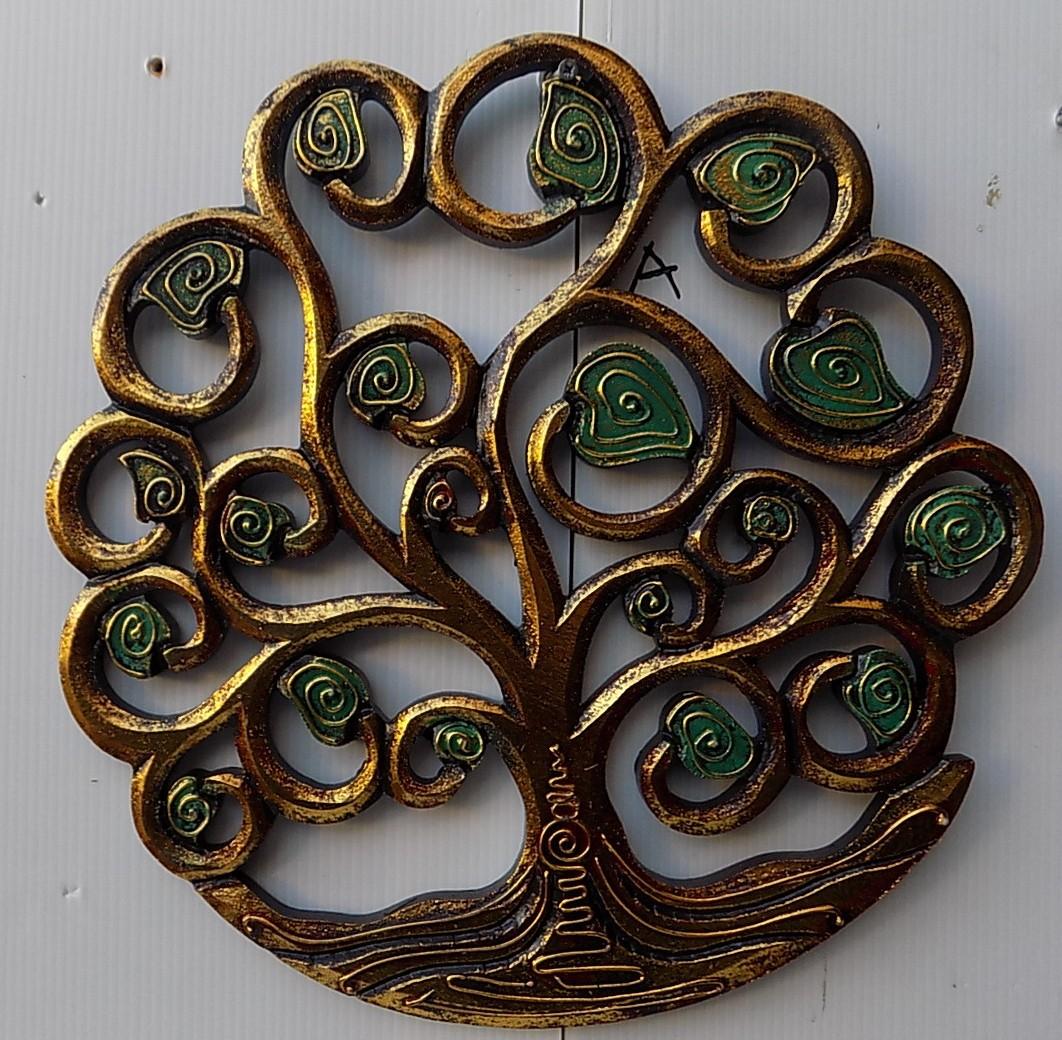 Pannello-albero-della-vita-legno-mdf-traforato-a-mano-diametro-cm-30-bianco-oro miniatura 12