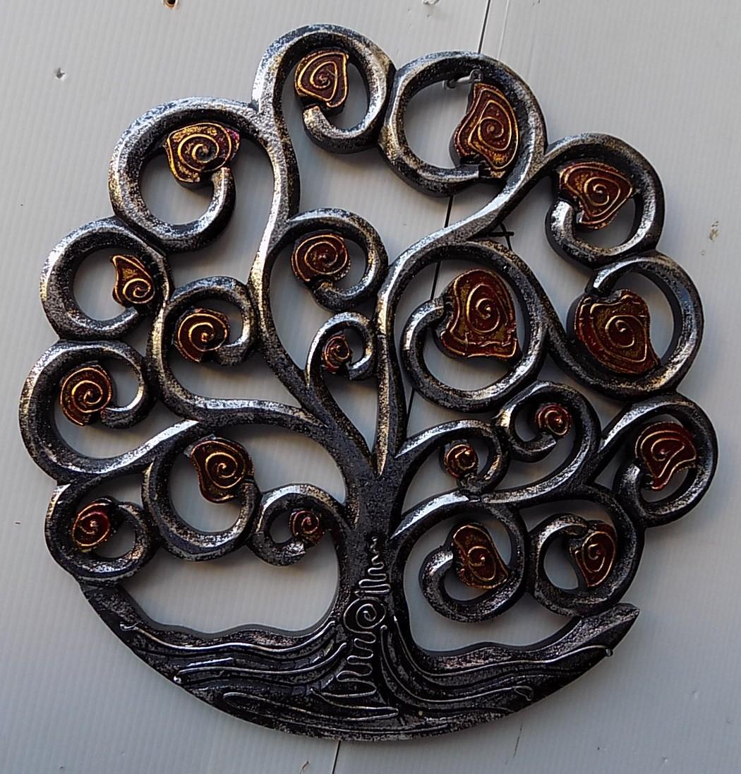 Pannello-albero-della-vita-legno-mdf-traforato-a-mano-diametro-cm-30-bianco-oro miniatura 11