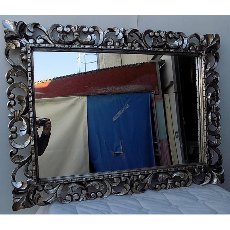 Specchio Barocco in Legno intarsiato cm 120x80 Oro Anticato Modello Classic Marblechic